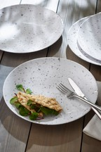 Set of 4 Terrazzo Effect Melamine Dinner Plates