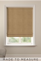 Made To Measure Tan Soft Velour Roman Blind