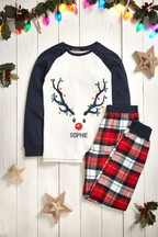 Personalised Older Kids Deer Christmas Pyjamas
