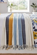 Joules Galley Woven Stripe Cotton Throw