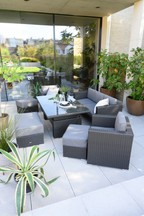 Monaco Living And Dining Table With Dark Grey Cushions Garden Set