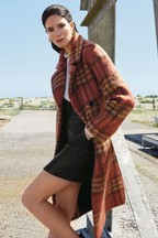 Warehouse Multi Check Double Breasted Belted Coat