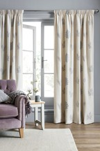 Embroidered Leaf Pencil Pleat Curtains
