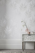 Paste The Wall White Mica Leaf Wallpaper Sample