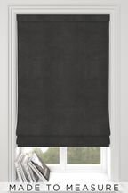Soft Velour Charcoal Grey Made To Measure Roman Blind