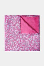 Moss 1851 Pink/Blue Floral Swirl Pocket Square