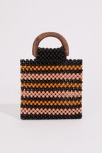 Warehouse Pink Beaded Stripe Bag