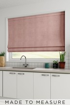 Made To Measure Blush Soft Velour Roman Blind