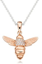 Beaverbrooks Silver Rose Gold Plated Cubic Zirconia Bee Pendant