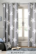Brushed Cotton Grey Star Eyelet Curtains