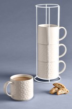 Set of 4 Tile Embossed Stacking Mugs