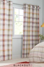 Bracken Check Blackout Eyelet Curtains