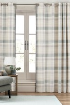 Brushed Cotton Hadley Check Eyelet Curtains