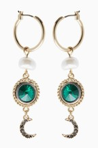 Emerald Stone Moon Drop Earrings