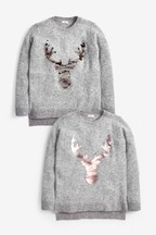 Kids Matching Family Flippy Sequin Stag Jumper (3-16yrs)