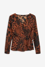 Animal Print Wrap Top