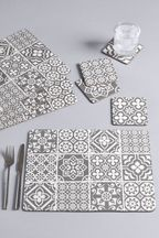 Set of 4 Tile Print Placemats And Coasters