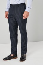 Tailored Fit Stripe Wool Blend Suit: Trousers