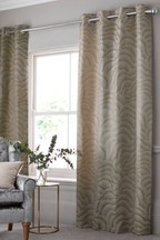 Metallic Jacquard Eyelet Curtains