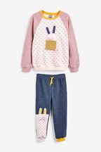 Bunny Embellished Crew And Joggers Set (3mths-7yrs)