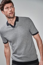Textured Trophy Neck Polo