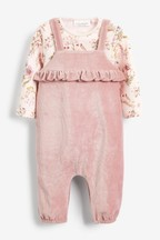 Velour Dungaree And Floral Bodysuit Set (0mths-2yrs)