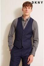 DKNY Slim Fit Navy Panama Open Weave Waistcoat