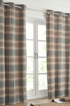 Nevis Woven Check Eyelet Curtains