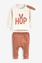 Hop Slogan Sweat, Legging And Headband Set (0mths-2yrs)