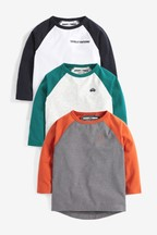 3 Pack Long Sleeve Raglan T-Shirts (3mths-7yrs)