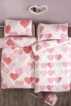 2 Pack Stitched Hearts Print Duvet Cover And Pillowcase Set