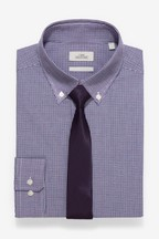 Regular Fit Single Cuff Easy Iron Check Shirt And Tie Set