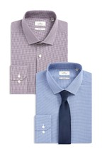 Slim Fit Puppytooth Shirts Two Pack With Tie