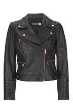 Mint Velvet Black Stitched Leather Biker Jacket
