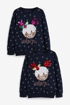 Kids' Matching Family Christmas Pudding Sequin Sweatshirt (3-16yrs)