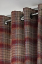 Tweedy Cranford Check Eyelet Curtains Fabric Sample