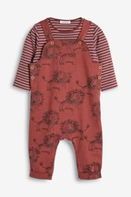 Lion Print Dungarees And Bodysuit Set (0mths-2yrs)
