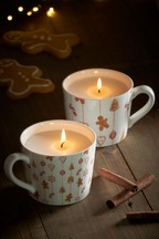 Set of 2 Gingerbread Ceramic Mug Candles