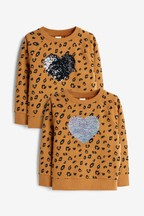 Ochre Sequin Heart Crew (3-16yrs)