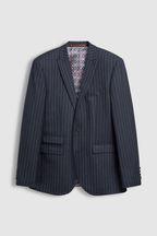 Tailored Fit Stripe Wool Blend Suit: Jacket