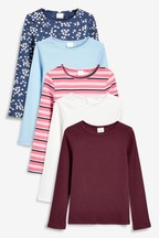 Long Sleeve Ribbed T-Shirts Five Pack (3-16yrs)