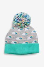 Rainbow Knit Pom Beanie Hat (Younger)