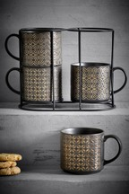 Set of 4 Metallic Embossed Stacking Mugs