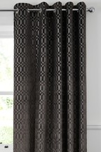 Luxe Metallic Diamond Geo Eyelet Curtains