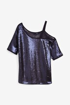 Sequin One Shoulder Top