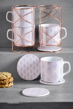 Set of 4 Belvedere Stacking Mugs And Coasters