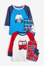 2 Pack Vehicle Check Woven Pyjamas (9mths-10yrs)
