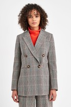 Whistles Grey Double Breasted Check Blazer