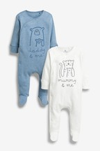 2 Pack Mummy And Daddy Character Sleepsuits (0mths-2yrs)