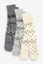 3 Pack Sparkle Heart Tights